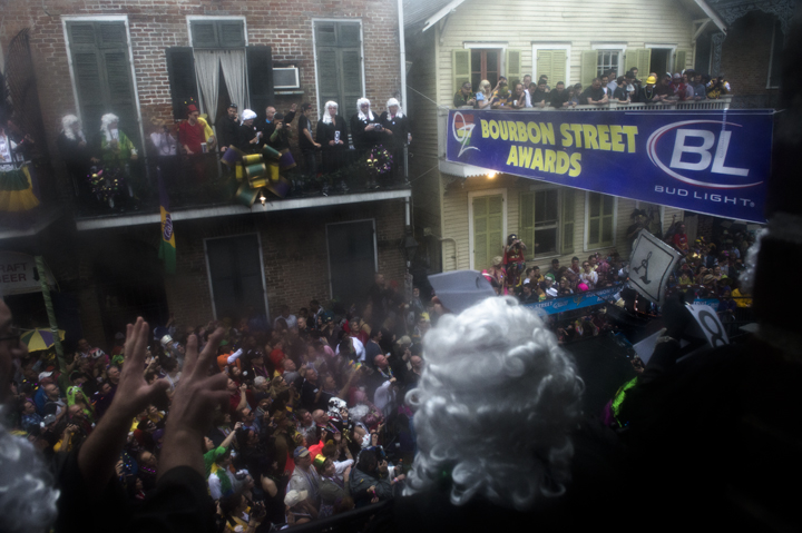 Judges cast their votes for the 49th Annual Bourbon Street Awards from the balcony of Oz. The Bourbon Street Awards is the ultimate costume contest.
