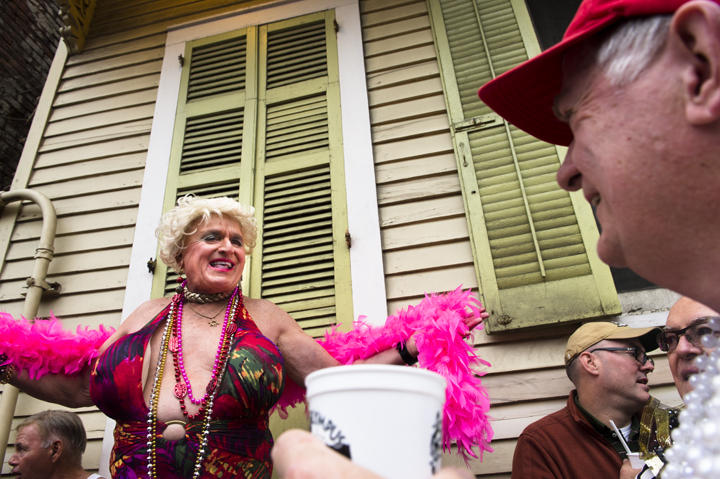 The 800 block of Bourbon Street during the 49th Annual Bourbon Street Awards from the balcony of Oz. The Bourbon Street Awards is the ultimate costume contest.