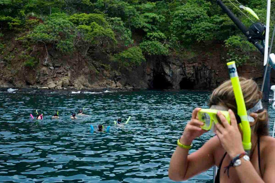 Megan prepares for snorkeling off a catamaran.