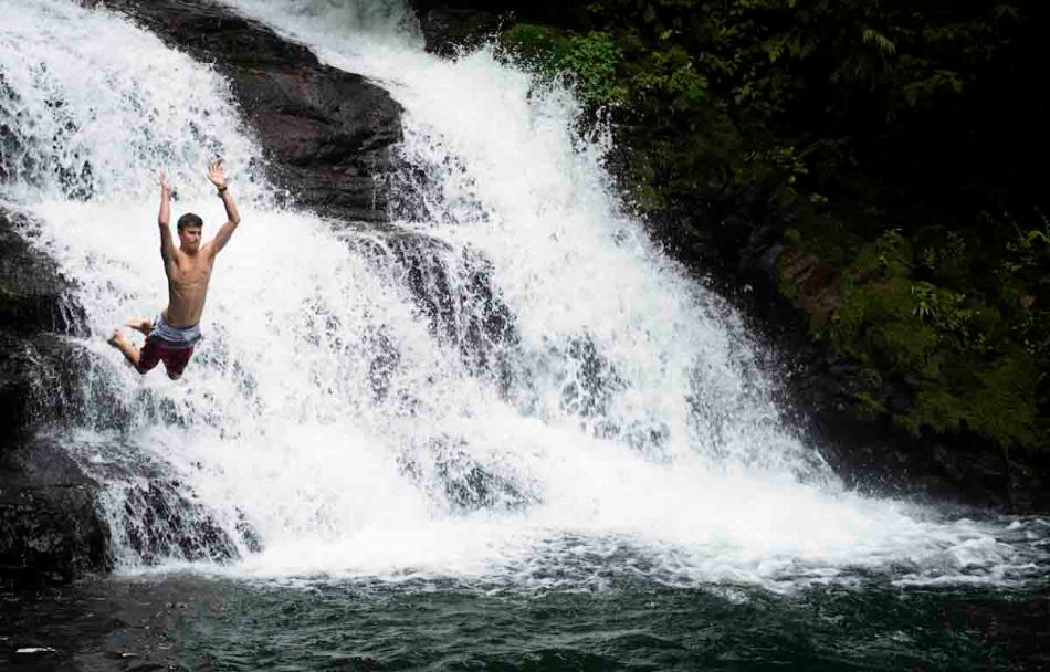 Marc jumps off a waterfall during our three-day rafting trip on the Pacuare River.