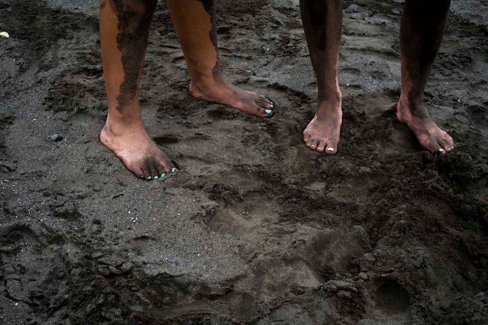 Sandy legs and feet after learning how to dig a proper turtle nest at the future turtle hatchery.